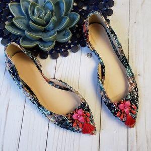 J CREW Audrey Flat in Embellished Tweed 8